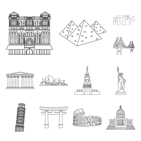 Sights of different countries outline icons in set collection for design. Famous building bitmap symbol stock illustration.