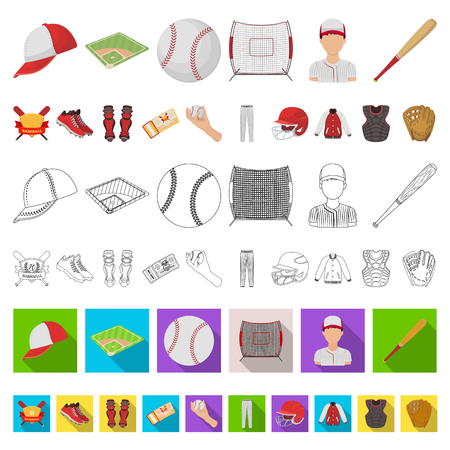 Baseball and attributes cartoon icons in set collection for design.Baseball player and equipment vector symbol stock web illustration.