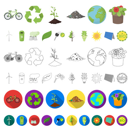Bio and ecology cartoon icons in set collection for design. An ecologically pure product vector symbol stock web illustration.
