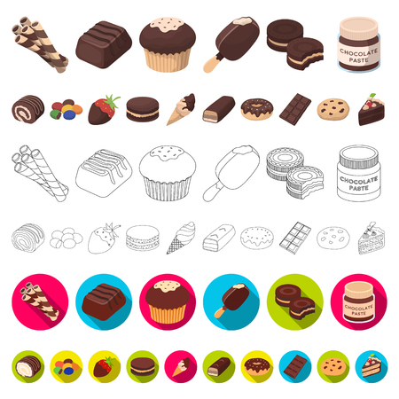 Chocolate Dessert cartoon icons in set collection for design. Chocolate and Sweets vector symbol stock web illustration. Illustration