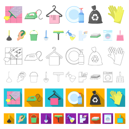 Cleaning and maid cartoon icons in set collection for design. Equipment for cleaning vector symbol stock web illustration. Illustration
