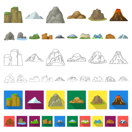 Different mountains cartoon icons in set collection for design.Mountains and landscape vector symbol stock web illustration. Vettoriali