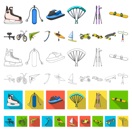 Extreme sport cartoon icons in set collection for design.Different kinds of sports vector symbol stock  illustration. Illustration
