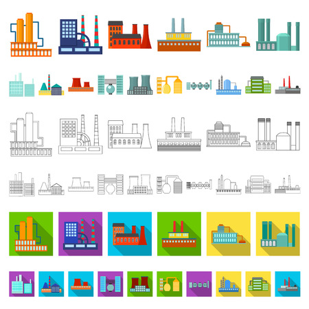 Factory and facilities cartoon icons in set collection for design. Factory and equipment vector symbol stock illustration. Ilustracje wektorowe