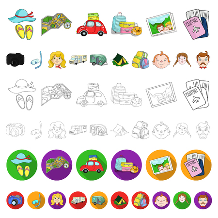 Family holiday cartoon icons in set collection for design. Recreation and equipment. vector symbol stock  illustration. Illustration