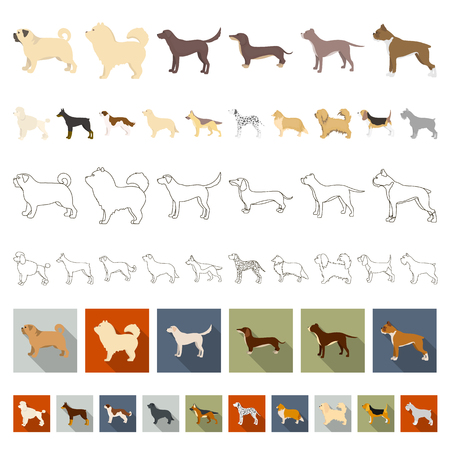 Dog breeds cartoon icons in set collection for design.Dog pet vector symbol stock  illustration. Vettoriali
