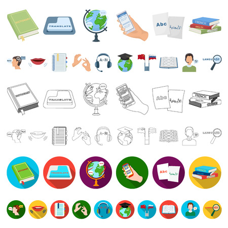 Translator and linguist cartoon icons in set collection for design. Interpreter vector symbol stock  illustration.