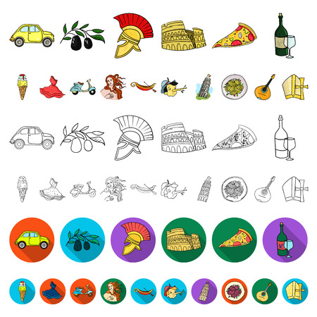 Country Italy cartoon icons in set collection for design. Italy and landmark vector symbol stock  illustration.