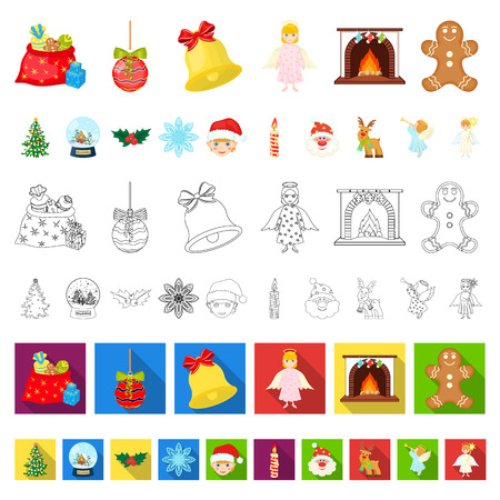 Christmas attributes and accessories cartoon icons in set collection for design. Merry Christmas vector symbol stock web illustration. Illustration