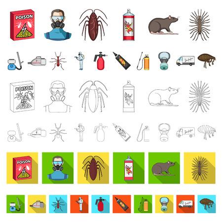 Iconos de dibujos animados de plagas, venenos, personal y equipo en conjunto para diseño. Control de plagas servicio vector símbolo stock web ilustración