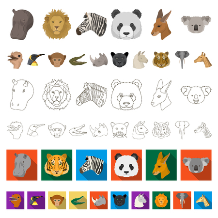 Wild animal cartoon icons in set collection for design. Mammal and bird vector symbol stock  illustration.