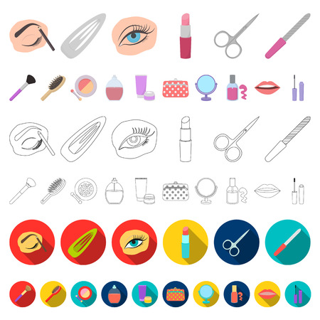 Makeup and cosmetics cartoon icons in set collection for design. Makeup and equipment vector symbol stock  illustration. Ilustracja