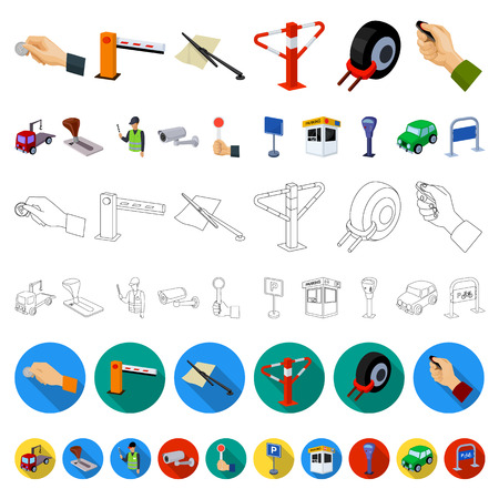 Parking for cars cartoon icons in set collection for design. Equipment and service vector symbol stock  illustration. Illustration