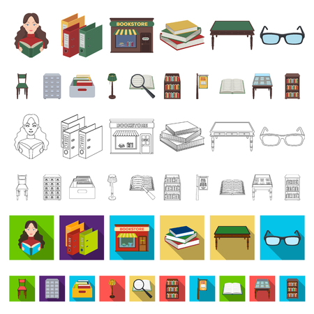 Library and bookstore cartoon icons in set collection for design. Books and furnishings vector symbol stock  illustration. Vettoriali