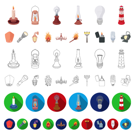 Light source cartoon icons in set collection for design. Light and equipment vector symbol stock  illustration. Illustration