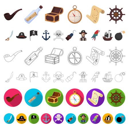 Pirate, sea robber cartoon icons in set collection for design. Treasures, attributes vector symbol stock web illustration. Illustration