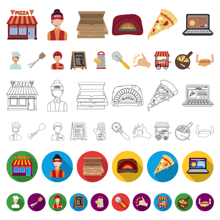 Pizza and pizzeria cartoon icons in set collection for design. Staff and equipment vector symbol stock  illustration.  イラスト・ベクター素材