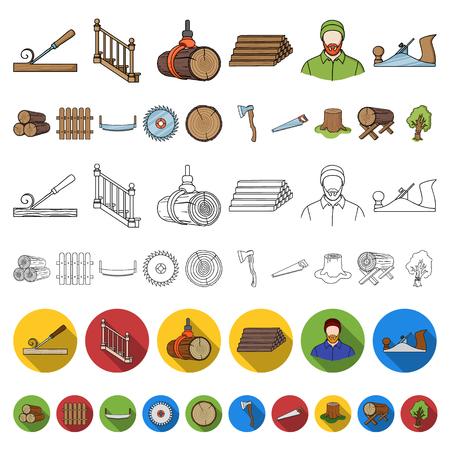 Icônes de dessin animé de scierie et de bois dans la collection de jeu pour la conception. Matériel et outils vector illustration stock symbole.