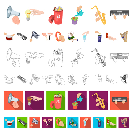 Manipulation by hands cartoon icons in set collection for design. Hand movement vector symbol stock illustration.