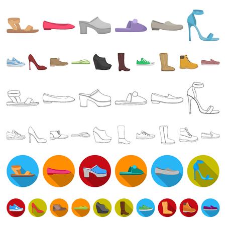 Una varietà di icone del fumetto di scarpe nella raccolta di set per il design. Boot, scarpe da ginnastica simbolo vettore illustrazione stock.
