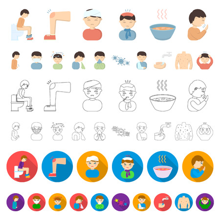 The sick man cartoon icons in set collection for design. Illness and treatment vector symbol stock  illustration.