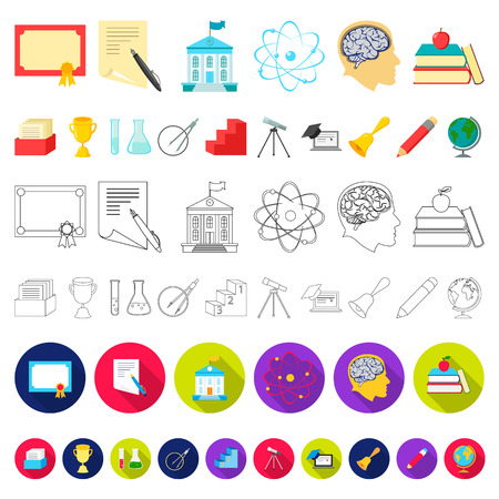 School and education cartoon icons in set collection for design.College, equipment and accessories vector symbol stock  illustration. Ilustrace