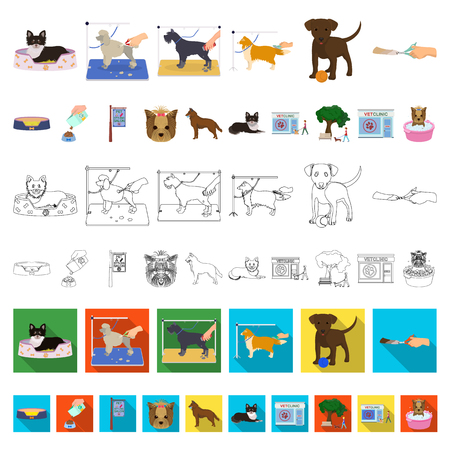 Pet cartoon icons in set collection for design. Care and education vector symbol stock illustration. Ilustração