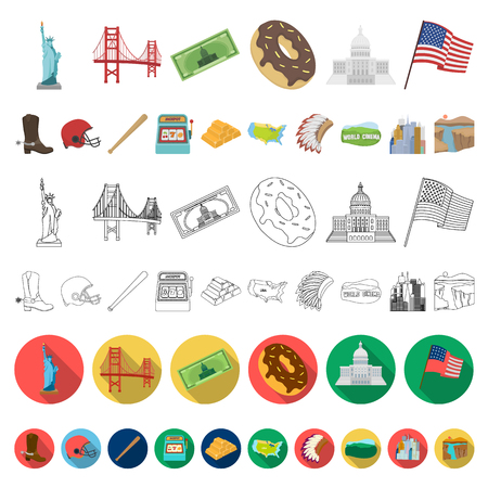 USA country cartoon icons in set collection for design.Travel and attractions vector symbol stock  illustration. Illustration
