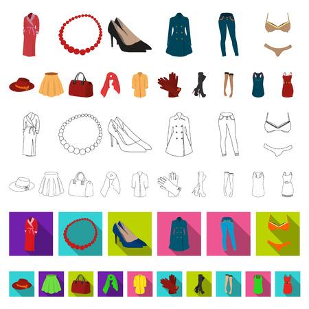 Frauenkleidungs-Karikaturikonen in der Satzsammlung für Design. Kleidungssorten und Zubehörvektorsymbolvorratillustration. Vektorgrafik