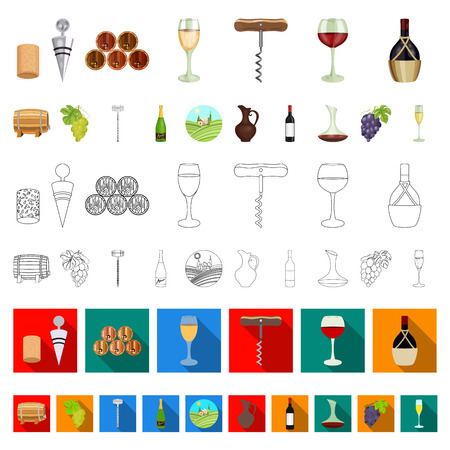 Wine products cartoon icons in set collection for design. Equipment and production of wine vector symbol stock illustration.