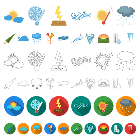 Different weather cartoon icons in set collection for design.Signs and characteristics of the weather vector symbol stock  illustration. Illustration