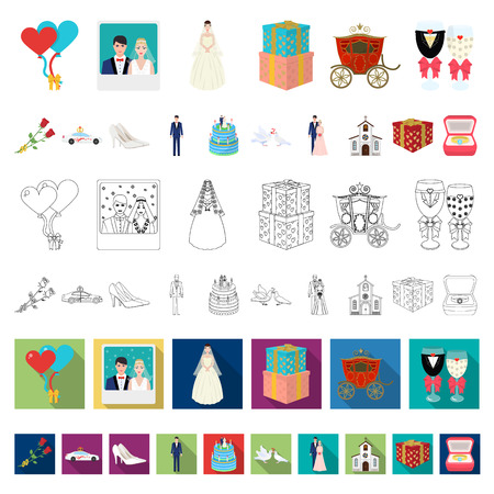 Wedding and Attributes cartoon icons in set collection for design. Newlyweds and Accessories vector symbol stock illustration.