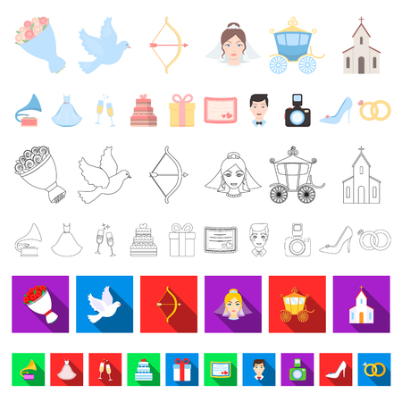 Wedding and Attributes cartoon icons in set collection for design.Newlyweds and Accessories vector symbol stock  illustration. Иллюстрация