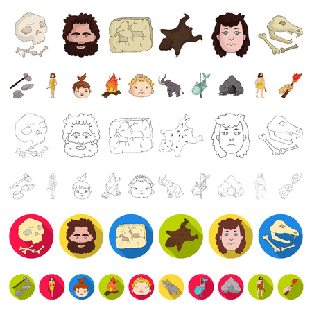 Life in the Stone Age cartoon icons in set collection for design. Ancient people vector symbol stock  illustration. Иллюстрация