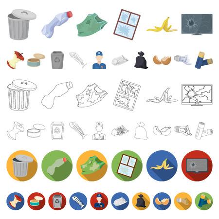 Icônes de dessin animé d'ordures et de déchets dans la collection de jeu pour la conception. Nettoyage des ordures vecteur symbole stock illustration web.