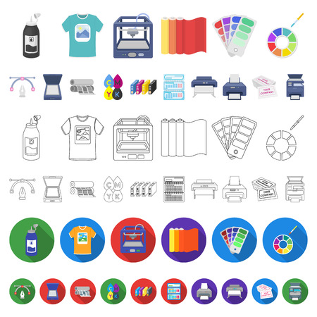 Typographical products cartoon icons in set collection for design. Printing and equipment vector symbol stock  illustration. Illustration