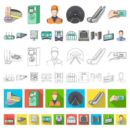 Metro, subway cartoon icons in set collection for design.Urban transport vector symbol stock web illustration. Stock Photo