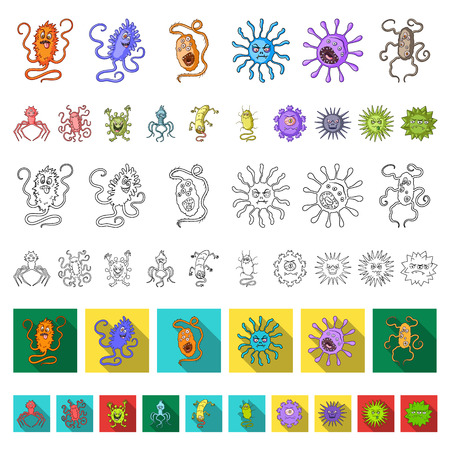 Types of funny microbes cartoon icons in set collection for design. Microbes pathogenic vector symbol stock  illustration.