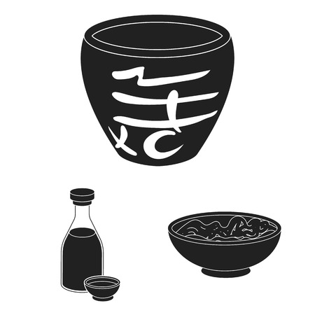 Sushi and seasoning black icons in set collection for design. Seafood food, accessory bitmap symbol stock web illustration.