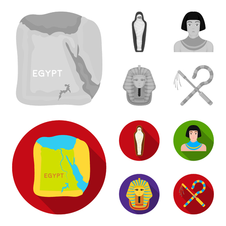 Crook and flail,a golden mask, an egyptian, a mummy in a tomb.Ancient Egypt set collection icons in monochrome,flat style bitmap symbol stock illustration web.