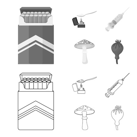 Cigarettes, a syringe, a galoyucinogenic fungus, heroin in a spoon.Drug set collection icons in outline,monochrome style bitmap symbol stock illustration web. Stock Photo