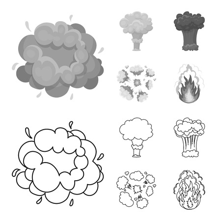 Flame, sparks, hydrogen fragments, atomic or gas explosion. Explosions set collection icons in outline,monochrome style bitmap symbol stock illustration web. Stock fotó