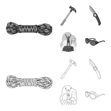 Climber on conquered top, coil of rope, knife, hammer.Mountaineering set collection icons in outline,monochrome style bitmap symbol stock illustration web.