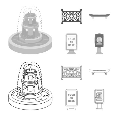Fountain, fence, skate, billboard.Park set collection icons in outline,monochrome style bitmap symbol stock illustration web.