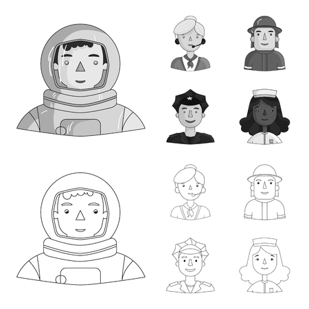 An astronaut in a spacesuit, a co-worker with a microphone, a fireman in a helmet, a policeman with a badge on his cap. People of different professions set collection icons in outline,monochrome style bitmap symbol stock illustration web.