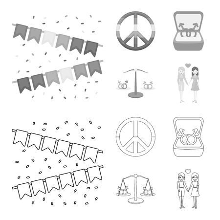 Flags, rainbow, emblem, rings. Gay set collection icons in outline,monochrome style bitmap symbol stock illustration web.