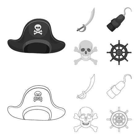 Pirate, bandit, cap, hook .Pirates set collection icons in outline,monochrome style bitmap symbol stock illustration web.