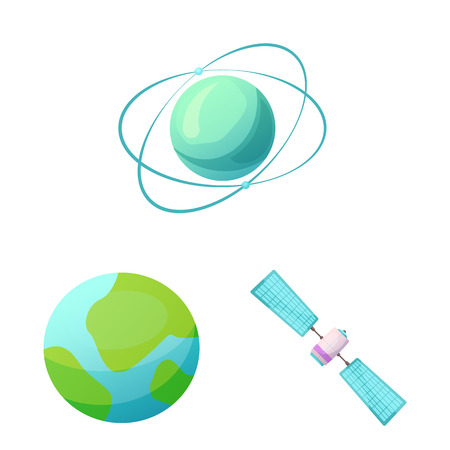 Isolated object of mars and space icon. Set of mars and planet vector icon for stock.