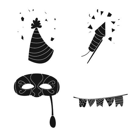 Objeto aislado del logo de fiesta y cumpleaños. Colección de icono de vector de fiesta y celebración para stock.