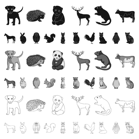 Icônes de dessin animé d'animaux réalistes dans la collection de jeu pour la conception. Illustration stock de symbole de vecteur d'animaux sauvages et domestiques.